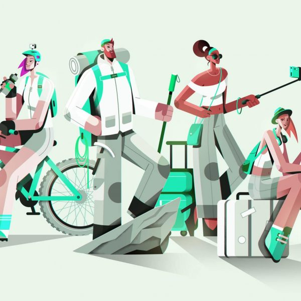 Group of all traveling personalities: explorer, adventurer, globetrotter, traveler, passenger and tourist.